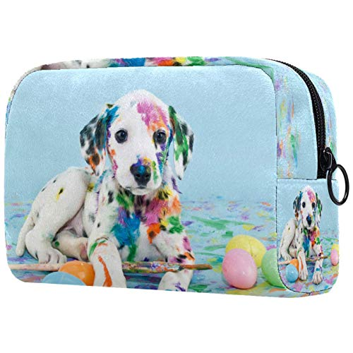 Bolsa de cosméticos para mujeres, pintura colorida Puggy Dog, bolsas de maquillaje accesorios organizador regalos