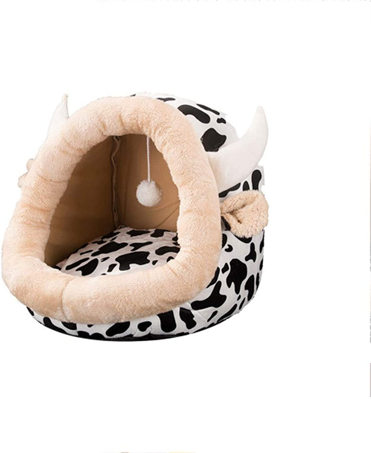 A++ Dualuse Pumpkin Pet Nest, Small and Medium Cats and Dogs Sleeping Bag Room Home Cute NonSlip Closed Pet Mattress (5 colors Optional) (color   White, Size   52×48×39cm)