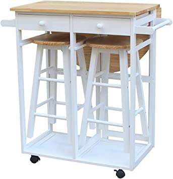 Amazon Com Ssline Rolling Kitchen Island With Seating 3pcs Dining Table Set With 2 Stools Wood Drop Leaf Breakfast Cart Table And Chair Space Saving Foldable Kitchen Table On Wheels With 2