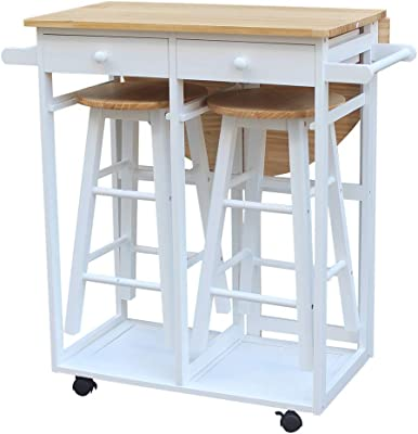 Amazon Com Ssline Rolling Kitchen Island With Seating 3pcs Dining Table Set With 2 Stools Wood Drop Leaf Breakfast Cart Table And Chair Space Saving Foldable Kitchen Table On Wheels With 2,What Color Makes You Sleepy