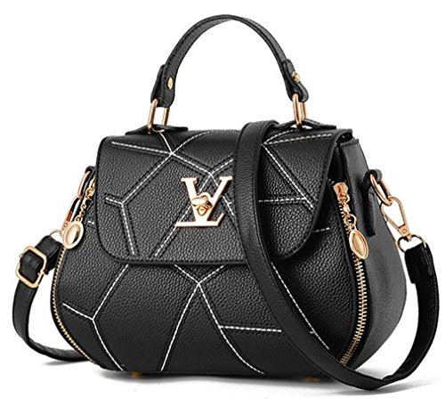 uaECB Womens Bag Leathe Handtaschen Shell Thread Damen Clutch Designer Bag Haupt Femme Women'stote Geldb?RSE Black 23cmX13cmX18cm