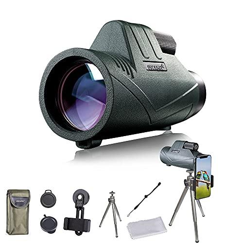 Monoculare HD con treppiede, impermeabile, per alpinismo, osservazione degli uccelli, caccia, concerti, partite di calcio, viaggi, colore: verde