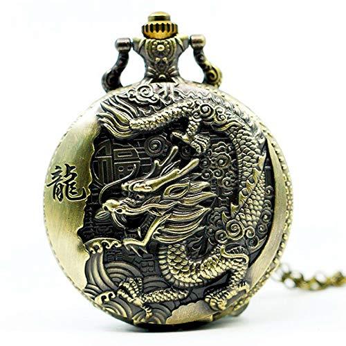 TOOGOO Reloj De Bolsillo del Gran Dragón Retro Nostálgico Estilo Chino En Relieve Bronce Grande