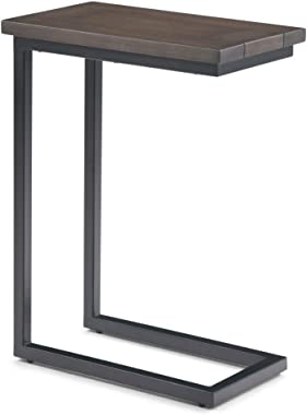 Simpli Home Skyler SOLID MANGO WOOD and Metal 18 inch Wide Rectangle Industrial C Side Table in Walnut Brown, Fully Assembled