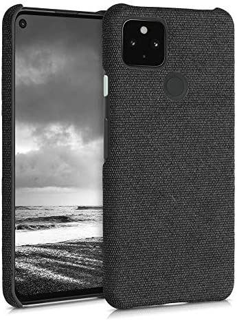 kwmobile Fabric Case Compatible with Google Pixel 4a 5G - Case Hard Protective Phone Cover with Material Texture - Grey