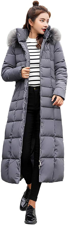 GridNN Women's Winter Fashion Long Section Hooded Fur Collar Down Coat