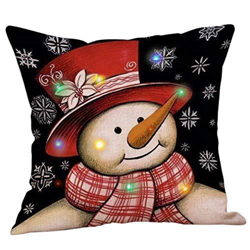 Lihan LED Design Funda de Navidad Series Fundas de cojín Cuadrado decoración navideña Regalo para sofás Dormitorio Auto Throw Reno Rudolph Duende Elk, LED22 45 * 45cm/17.71 * 17.71inch