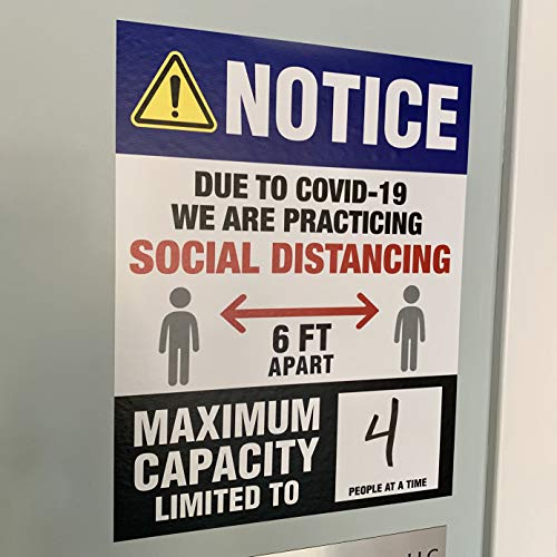 Social Distancing Maximum Capacity Signs - Social Distancing Wall Decals - Maximum Occupancy Safety Signage (5 decals per pack)