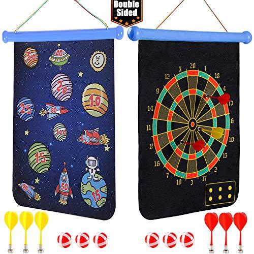 Queta Dartscheibe Kinder, Safe Dart Game, Kinderspiel Dart Board mit 6 Pfeile und 6 Bällen, Doppelseitige Cartoon-Softdart, Outdoor Indoor Spiel Wahl