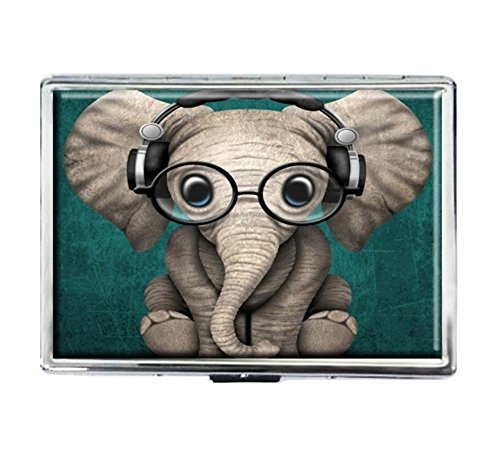 Cigarette Case Storage Case Box Stylish Credit Business Card Holder Case Box Unique Stainless Steel Silver (Cute Baby Elephant))