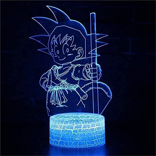 KSHU 3D Luz de noche 3D LED lámpara de ilusión Hola regalo para niña Luz de noche 3D para niños 16 colores Cambiando acrílico LED noche Luz de cumpleaños Regalo-Sonic-Dragon Ball Z