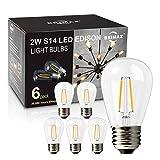 BRIMAX - (6Pack) - 2w LED Light Bulbs, Non-Dimmable, LED Filament Bulb, 2700K Warm White, 20W Equivalent, E26 Medium Base, S14 2W Led Edison Light Bulbs for 6/12/18-light Sputnik Chandelier Bulbs
