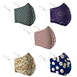 Cotton Face Mask 5 Pack   Handmade in UK Washable Reusable with Nose Wire   Filter Pocket   Adjustable Ear Loops   3 Layers Cloth Face Masks for Women Men   Floral Patterned