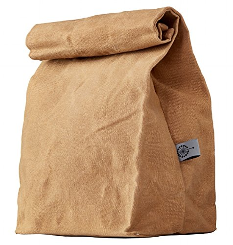Colony Co. Lunch Bag, Waxed Canvas, Durable, Biodegradable, Plastic-Free, for Men, Women & Kids, 14H x 8W x 5D inches, Brown
