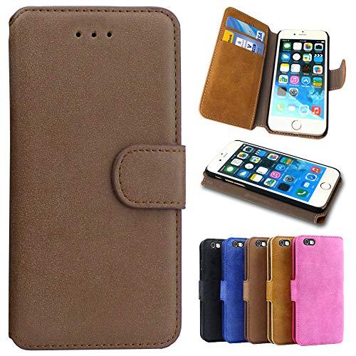 Handy Hülle für Motorola Moto G2, Handyhülle Flip Case Tasche Schutzhülle für Motorola Moto G2, Klapphülle mit Kartenfach - Braun (Mokka)