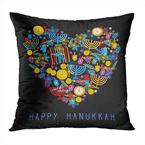 Hanukkah Throw Pillow Cover,Happy Hanukkah Heart Festive Party Gr,Cushion Cases Shams for Indoor Outdoor Home Decor Living Room Bedroom Office Cotton Pillowcase,18'x18'