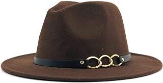LaVintageエレガントウィンターウールフェドラ 男性女性Fedoraアイアンチェーンレザーベルト帽子ジャズブラックウールブレンド帽子屋外カジュアル帽子エレガントなレディキャップ 女性の女の子の夏の麦わら帽子 (色 : コーヒー, サイズ : 56-58CM)