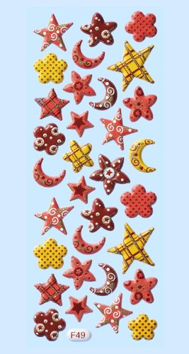 CREApop® 2 Packungen Softy-Stickers Mond + Sterne IV bernstein-nougat