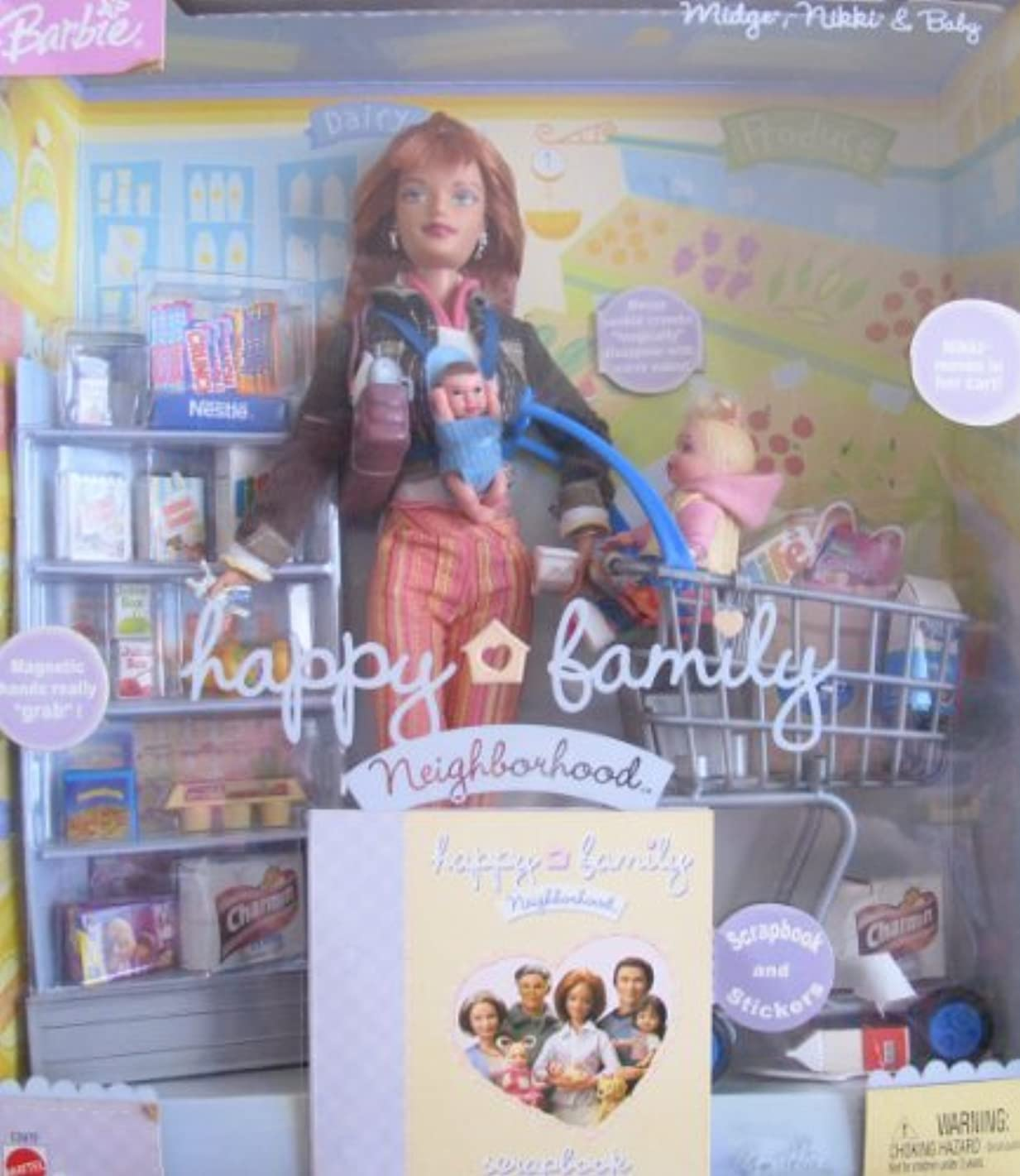 Barbie Happy Family MIDGE, NIKKI & Baby Doll GROCERY SHOPPING Set (2004)