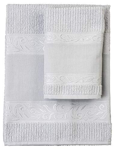 Filet Handtücher, 100% Baumwoll-Frottee, einfarbig, mit Leineneinsatz, Aida-Stickerei, Grau