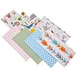 Fat-Quarters Fabric Bunlde Quilting Patchwork - 8 Pieces Cotton Fabric for Sewing, Quilting, DIY Craft (20' x 20' Geometry & Cartoons Theme)