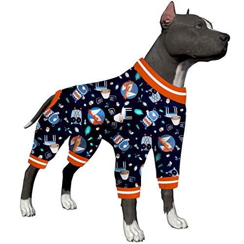 LovinPet Haustierkleidung für große Hunde / Nighthawk Red Fox Cuddle In The Woods Stahldruck/Leichter Pullover Haustier Schlafanzug/Full Coverage Hund Pjs/Big Dog Onesie Jumpsuit