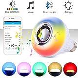 Skisneostype Ampoule Couleur Ampoule connectée Ampoule LED Bluetooth Haut-parleur Ampoule Musique avec Télécommande pour Maison, Scène, Barre, Décoration de Partie