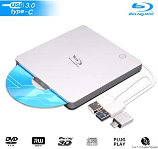 External Blu Ray Drive Burner,DVD 3D USB 3.0 and Type-C Slot-in Optical Portable BD CD DVD RW ROM Drive Burner Writer Player Reader Ultra-Slim Compatible with Windows XP/7/8/10, MacOS, Linux