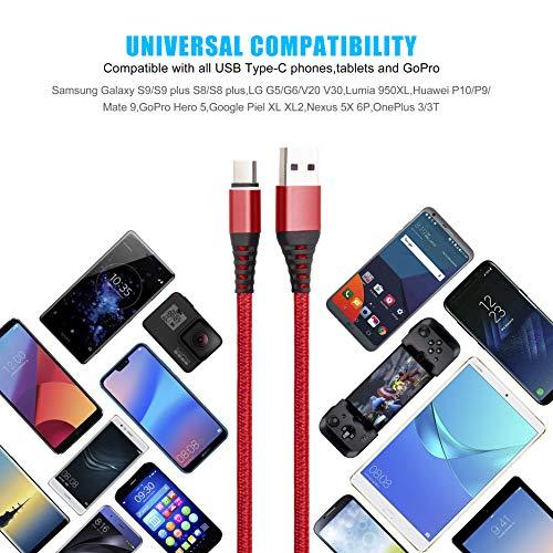 Lang USB C Kabel 3M, 2Pack 3Meter USB Type C Ladekabel, Nylon Geflochten 3A Schnelles Aufladen/Synchronisation USB C auf A Kabel für Samsung S10 S9 S8 Plus Note10 9 8 LG G5 G6 HTC, Huawei,Google