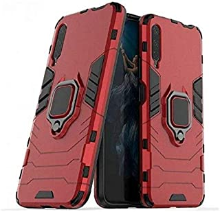 لهاتف سامسونج جالاكسي A50S، حافظة هاتف بتصميم الحلقي أيرون ارمور مان مغناطيسي مضاد للسقوط جراب سيارة ناعم مضاد للصدمات - أحمر