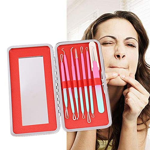 Blackhead Remover Kits Pimple Extractor Poussoir pour Whitehead Acné Tache Acier inoxydable Pimple Comédon Extracteur Clip red