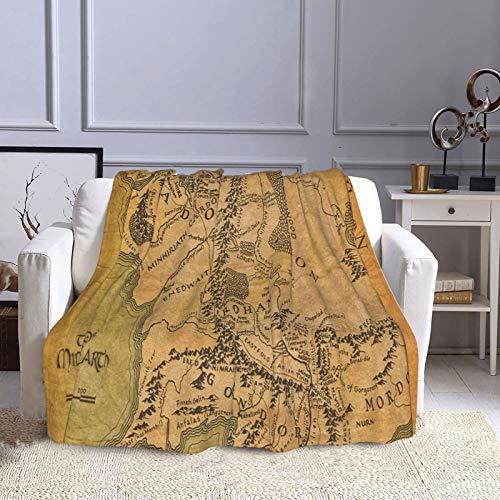KCOUU Couverture polaire 127 x 152 cm Le Seigneur de l'Anneau (carte) Couverture douce et chaude pour canapé, lit, canapé, voyage, maison, bureau, toutes saisons
