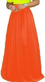 JXG Women Faldas Plisadas Cintura Elastica Gasa Maxi Falda de Color sólido