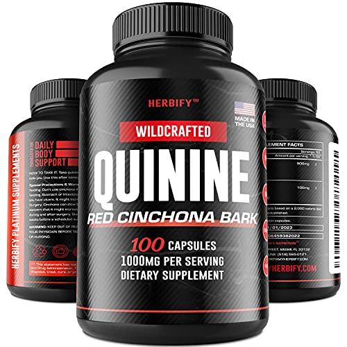 Quinine Pills 1000 mg, Red Cinchona Bark (Cinchona succirubra), Peruvian Bark (Cinchona officinalis) Powerful Combination, Herbal Supplement, 100 Capsules