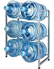 KAX 5-Gallon Water Bottle Holder 6 Trays Water Jug Rack 3-Tier Water Bottle Rack Reinforced Steel Rack for Water Storage Water Bottle Storage Rack for 6 Bottles, Silver