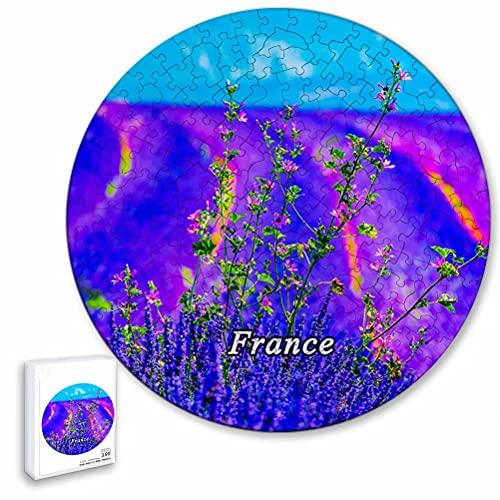 Francia Moustiers-Sainte-Marie Lavanda Rompecabezas de 195 Piezas con Forma Redonda de Animales de Madera para niños y Adultos, Recuerdos de 16.5 × 16.5 Pulgadas