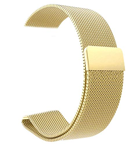 Preisvergleich Produktbild Herren Damen Edelstahl Magnet Armbänder Schnellspanner Uhrenarmband 14mm 16mm 18mm 20mm 22mm, Silber Schwarz Gold Rose Gold