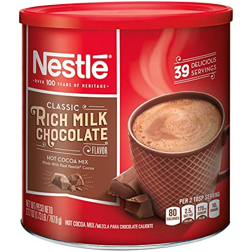 NESTLE HOT COCOA Mix Rich Milk Chocolate Flavor 27.7 oz. Canister (Pack of 2)