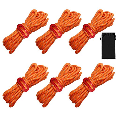 nuoshen Guy Ropes, 6 Pack 4mm Tent Guy Line 13 Feet Reflective Cord Guy Line Tent Guide Rope for Awning Camping (Orange)