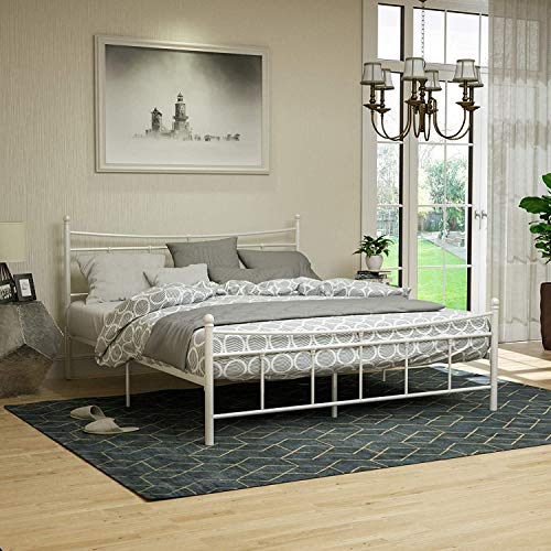 mecor Metallbett 140x200 Bettgestell Bettrahmen mit Lattenrost Gästebett Doppelbett Bettrahmen mit Kopfteil Design, Bett In milchweiß