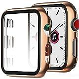 Miimall Funda Compatible con Apple Watch Series 3/2/1 38mm Carcasa Protector Cristal, 2 en 1 PC Case + Vidrio Templado Anti-Choque Protector Pantalla para iWatch Series 3/2/1 38mm - Oro Rosa