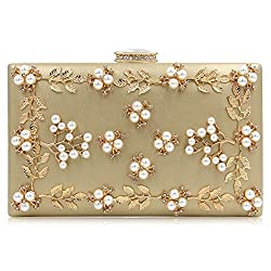 Gold Clutche With Pearls And Rhinestones Purse