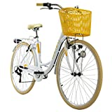 KS Cycling Damenfahrrad 26'' Cantaloupe weiß mitKorb Dacapo RH 48 cm