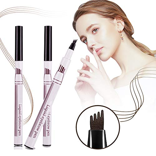 Eyebrow Tattoo Pen,Microblading Eyebrow Pen,Waterproof Eyebrow Pencil,Liquid Eyebrow Pencil with Four Tips,3 Colors Long-Lasting Waterproof Smudge Proof Eyebrow Pen