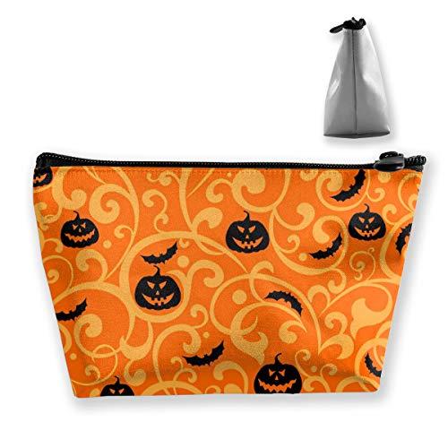 Women Halloween Pumpkin Bat Makeup Bag Cosmetic Bags Hand-held Toiletry Travel Organizer for Girl Make Up Tools Toiletries