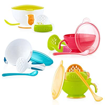 Nuby Garden Fresh Mash N' Feed Bowl with Spoon and Food Masher, Colors May Vary by Nuby