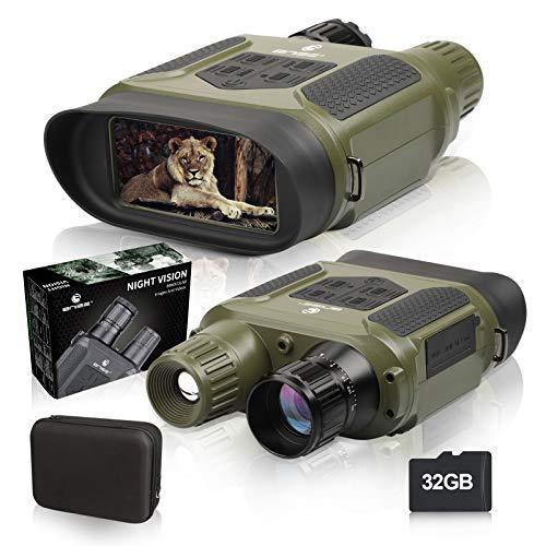 """BNISE Jumelle Vision Nocturne Numérique pour Adultes - 1300FT/400M Caméra de Chasse avec 32G TF Card 4""""LCD Screen 7X Grossissement for Wildlife"""