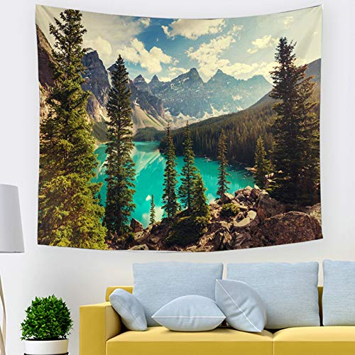 BATOHOME Wall Decoration 3 D, Natural Landscape Tapestry Mountains and Rivers Garden Wall Decor for Bedroom Living Room Tapestry 150x150CM