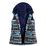QIMANZI Winterweste mit Kapuze Damen Jahrgang Warm Jacket Ärmellos Gedruckt Taschen Dicker Haspe Kapuzenweste Mantel(Himmelblau,M)