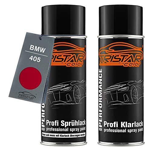 TRISTARcolor Autolack Spraydosen Set für BMW 405 Imolarot II Basislack Klarlack Sprühdose 400ml